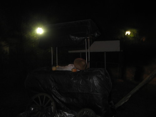 Als Empfang hatten wir dieses Jahr diesen schaurigen Leichenwagen erstellt.